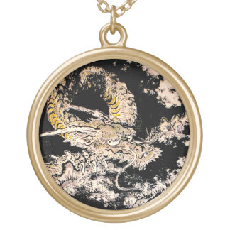 Cool oriental Legendary Ancient Chinese Dragon ink Round Pendant Necklace