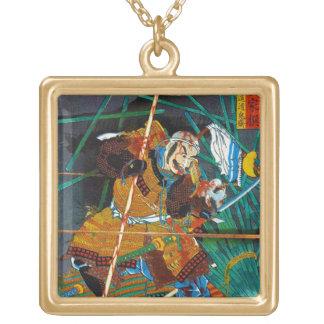 Cool oriental Legendary Hero Samurai general Square Pendant Necklace