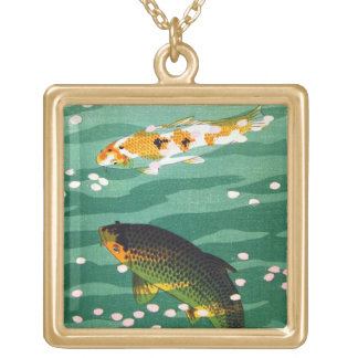 Cool oriental lucky koi fishes emerald water art pendant