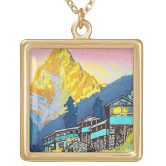 Cool oriental mountain scenery sunset classic art square pendant necklace