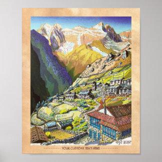 Cool oriental Namche Bazar Nepal mountain art Posters