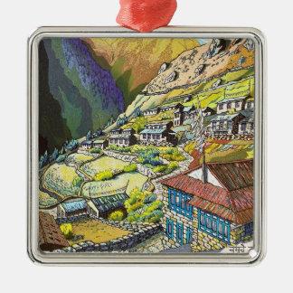 Cool oriental Namche Bazar Tibet mountain art Silver-Colored Square Decoration