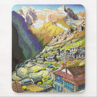 Cool oriental Namche Bazar Tibet mountain art Mouse Pad