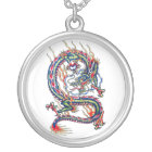 Cool Oriental Red Dragon with Orb tattoo Silver Plated Necklace