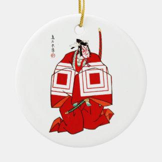 Cool Oriental Shibaraku SAmurai tattoo Round Ceramic Decoration