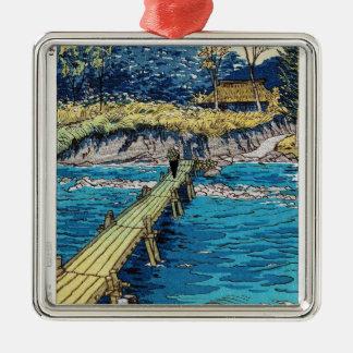 Cool oriental Shiro Kasamatsu Biver Bridge scene Silver-Colored Square Decoration