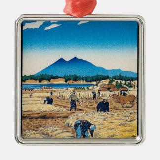 Cool oriental Shiro Kasamatsu Harvest Time art Silver-Colored Square Decoration