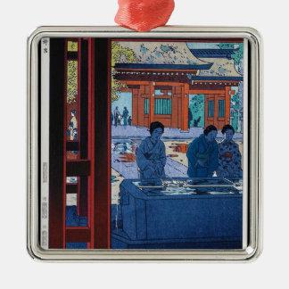 Cool oriental Shiro Kasamatsu Marketplace scene Silver-Colored Square Decoration