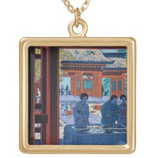 Cool oriental Shiro Kasamatsu Marketplace scene Square Pendant Necklace
