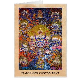 Cool oriental tangka Yamantaka death god tattoo Card