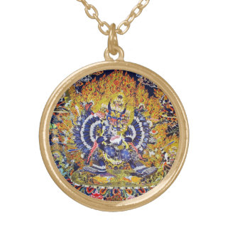 Cool oriental tangka Yamantaka death god tattoo Gold Plated Necklace