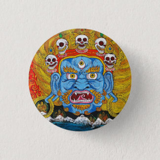 Cool oriental tibetan thangka demon tattoo art 3 cm round badge