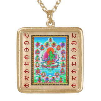 Cool oriental tibetan thangka Green Tara  tattoo Gold Plated Necklace