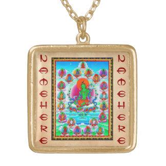 Cool oriental tibetan thangka Green Tara  tattoo Custom Necklace