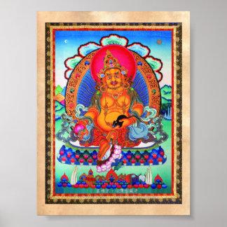 Cool oriental tibetan thangka Jambhala tattoo art Poster