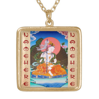 Cool oriental tibetan thangka mandarava tattoo art square pendant necklace