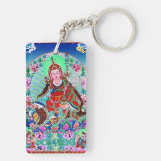Cool oriental tibetan thangka Padmasambhava Double-Sided Rectangular Acrylic Key Ring
