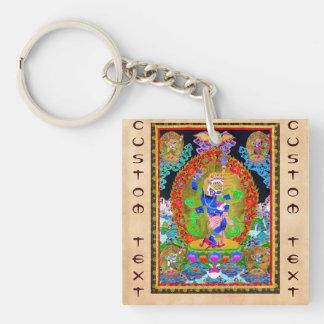Cool oriental tibetan thangka Simhavaktra Dakini Double-Sided Square Acrylic Key Ring