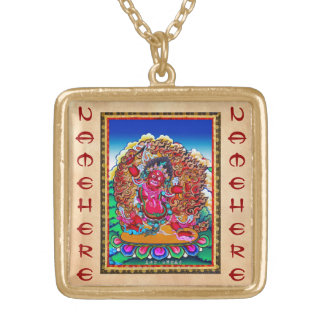Cool oriental tibetan thangka tattoo Hayagriva Gold Plated Necklace