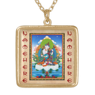 Cool oriental tibetan thangka tattoo Saraswati Pendant