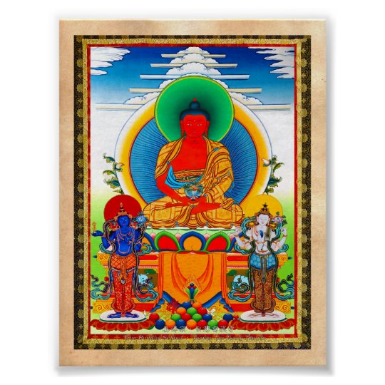 Cool oriental tibetan thangka Three Major Saints Poster