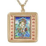 Cool oriental tibetan thangka White Jambhala Square Pendant Necklace