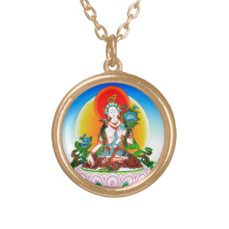 Cool oriental tibetan thangka White Tara tattoo Gold Plated Necklace