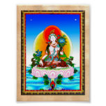 Cool oriental tibetan thangka White Tara tattoo Poster