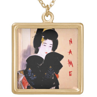 Cool oriental traditional japanese geisha lady art square pendant necklace