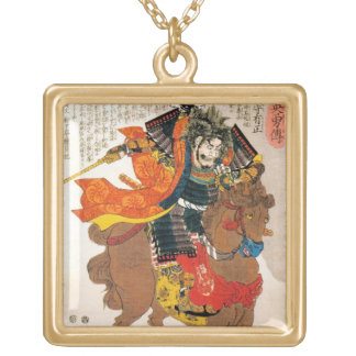 Cool oriental traditional japanese warrior samurai square pendant necklace