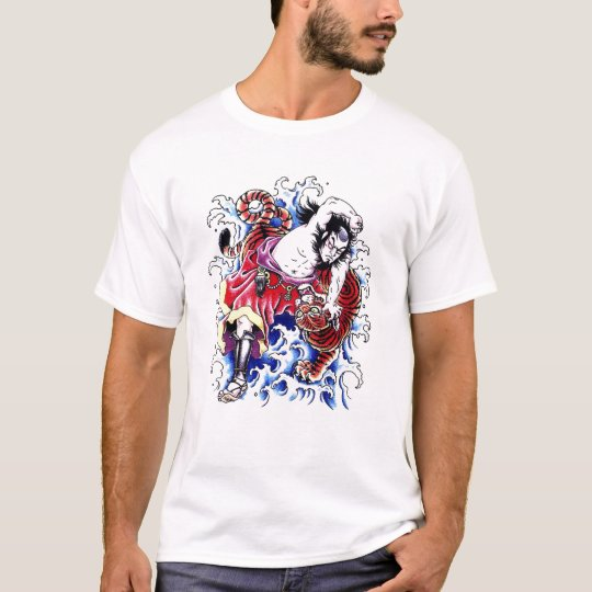 Cool Oriental Warrior and Tiger tattoo T-Shirt