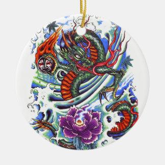 Cool Oriental Water Dragon Lotus Round Ceramic Decoration