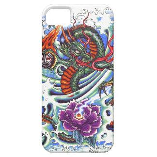 Cool Oriental Water Dragon Purple Lotus tattoo iPhone 5 Cases