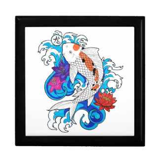Cool Oriental White Koi Carp Fish Lotus Flowers Large Square Gift Box