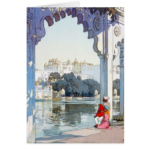 Cool oriental Yoshida Hiroshi udaipur Palace art Cards