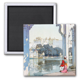 Cool oriental Yoshida Hiroshi udaipur Palace art Square Magnet
