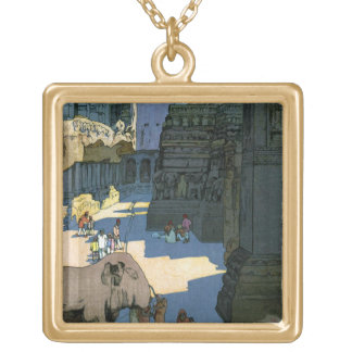 Cool oriental Yoshida scenery watercolour art Square Pendant Necklace