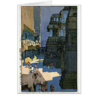 Cool oriental Yoshida scenery watercolour art Note Card