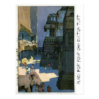 Cool oriental Yoshida scenery watercolour art Postcard