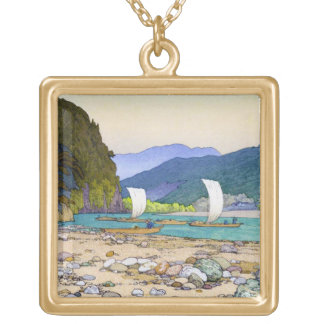 Cool oriental Yoshida stone beach harbor scenery Square Pendant Necklace