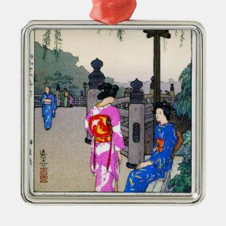 Cool oriental Yoshida watercolour japanese art Silver-Colored Square Decoration
