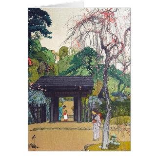 Cool orintal japanese Yoshida Temple Shrine Gate Note Card