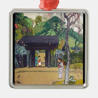 Cool orintal japanese Yoshida Temple Shrine Gate Silver-Colored Square Decoration