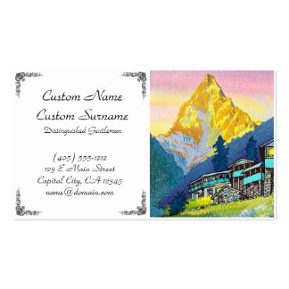 Cool orintal sunset mountain village summer scene Double-Sided standard business cards (Pack of 100)