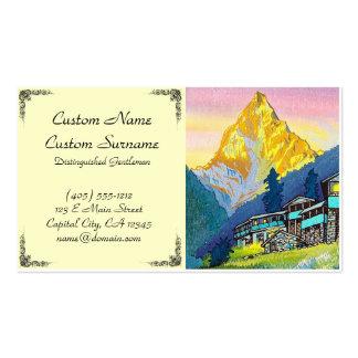 Cool orintal sunset mountain village summer scene pack of standard business cards