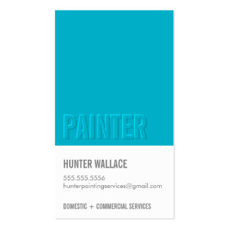 COOL PAINT CHIP swatch embossed look type blue Pack Of Standard Business Cards