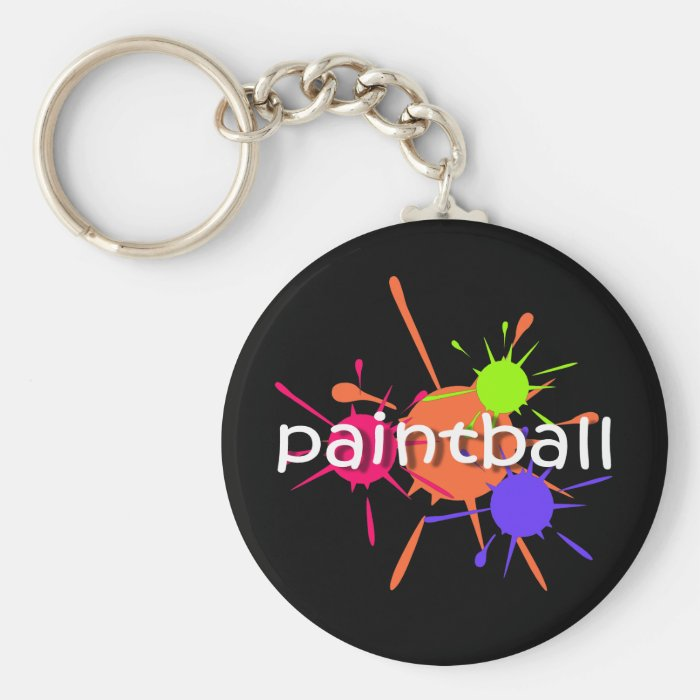 Cool paintball basic round button key ring
