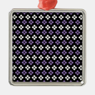 Cool Pale Purple & White Argyle Pattern on Black Christmas Ornament