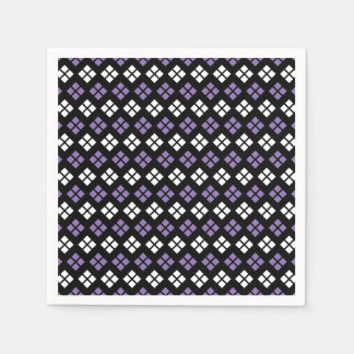 Cool Pale Purple & White Argyle Pattern on Black Paper Serviettes