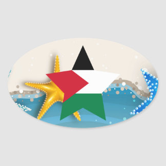 Cool Palestine Flag at the Beach Oval Sticker